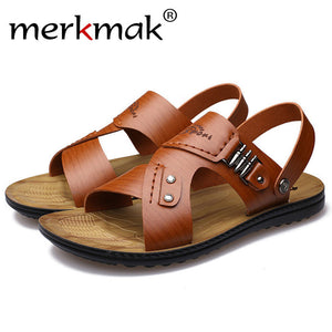 Merkmak Casual Sandals Men's Shoes Fashion Brand Summer Beach Man Handmade Metal Slippers Flat Breathable Footwear Drop Shipping