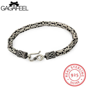 GAGAFEEL Genuine 100% Real Pure 925 Sterling Silver Men bracelet Dragon Head Vintage Thai Silver Men jewelry Fine jewelry HYB4