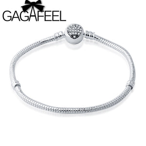 GAGAFEEL 3mm Snake Chain Round Clasp and Heart Crystal Bangle & Bracelet Luxury Jewelry for Women DIY Beads Making Jewelry