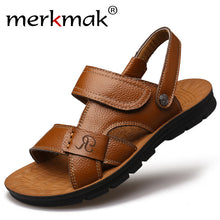 Merkmak Summer Men Sandals Slippers Two-in-one Shoes Casual Fashion Genuine Leather Beach Holiday Footwear Comfort Leisure Shoes