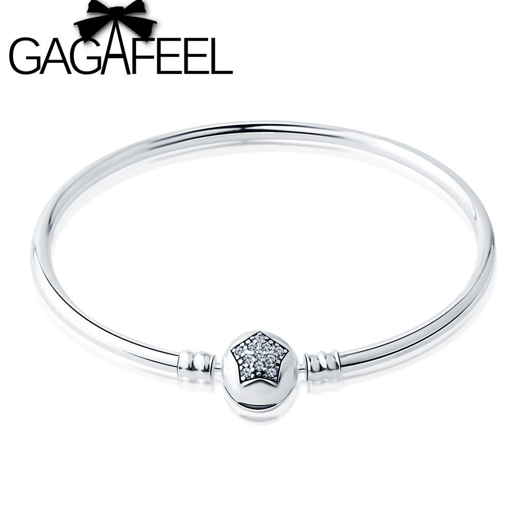 GAGAFEEL Unique 3mm Snake Chain Bangle and Bracelet Pave Clear Star Cubic Zirconia CZ Jewelry  for DIY Jewelry Making