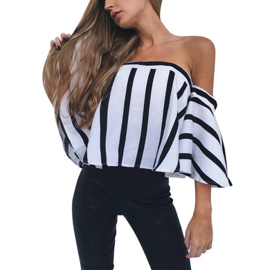 2017 Autumn Summer Stripe Blouse Women Slash Neck Off Shoulder Flare Half Sleeve Blouse Casual Tops blouse mousseline