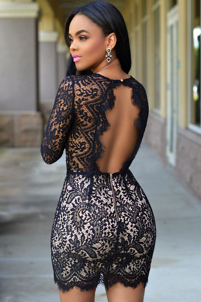 Black Lace Nude Mini Dress