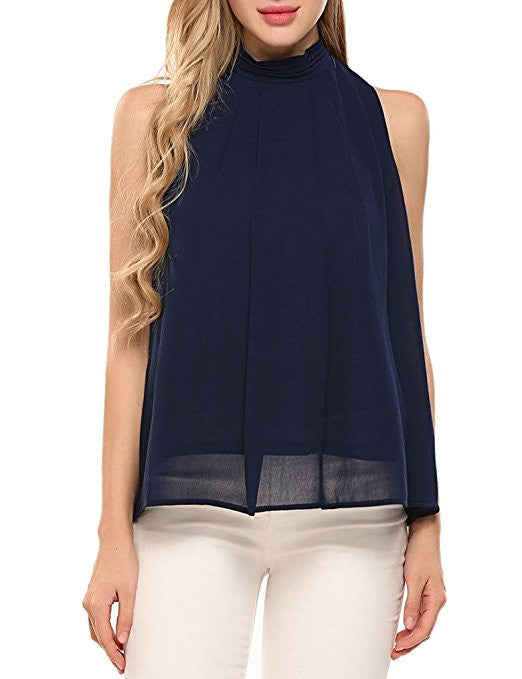 Women Casual Summer Chiffon Tank Top High Neck Sleeveless Blouse Shirt