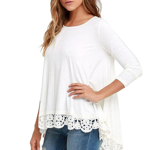 Women White Shirt Blouse Long Sleeve Casual Lace Patchwork Blouse Loose Cotton Tops blusa feminina Women Clothes
