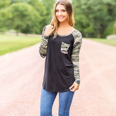 2017 Fashion Patchwork T-shirt Women camouflage Pritned Long Sleeve Sweatshirt Pullover Pocket O Neck Tops Cotton Shirt