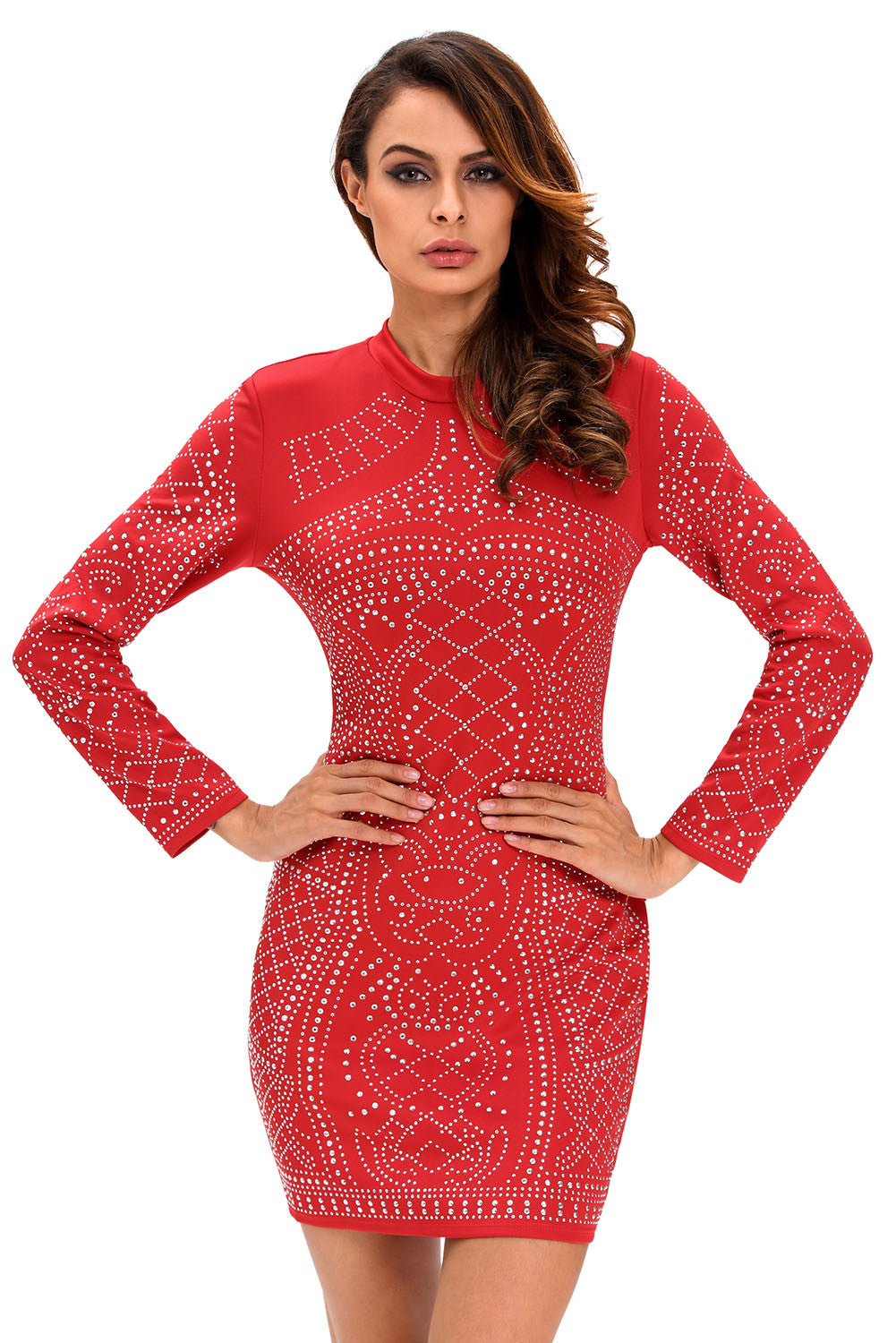 Red Studded Long Sleeves Dress