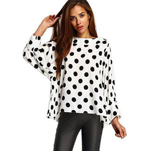 kimono Style 2017 Fashion Women O Neck Polka Dot Blouse Casual Loose Chiffon Long Sleeve White Shirt Blouse Tops
