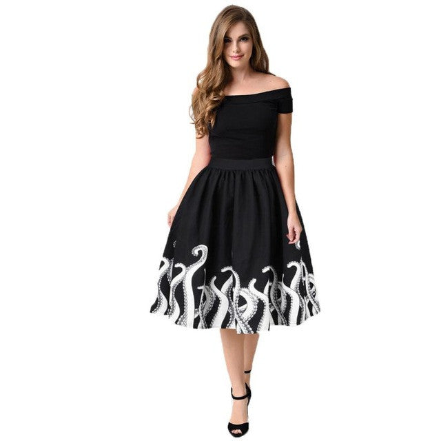 Women's Octopus Squid Fancy Print Pattern European and American Style Mini Knee Length Skater Midi Skirt