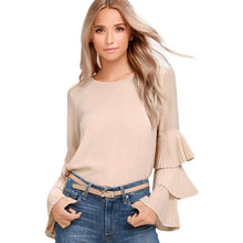 New Arrival Womens Chiffon Blouse Solid Flare Sleeve Long Sleeve Shirt Ladies Casual High Quality Khaki Blue Red Tops Blouse