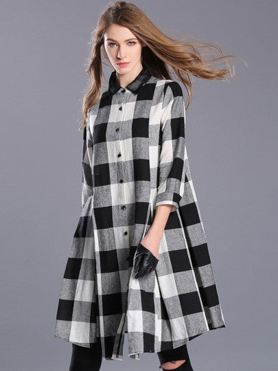 Single-Breasted Plaid Women's Day Dress
