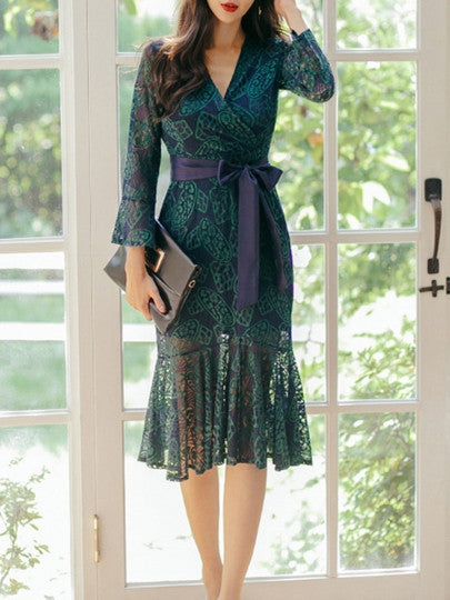 Green Fishtail Women's Lace Dress