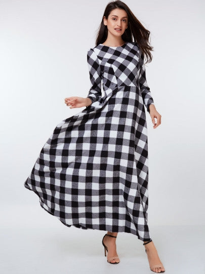 Long Sleeve Plaid Pockets Women's Maxi Dress (Plus Size Available)