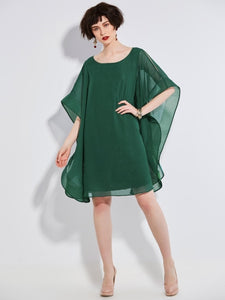 Batwing Sleeve Mesh Plain Women's Day Dress