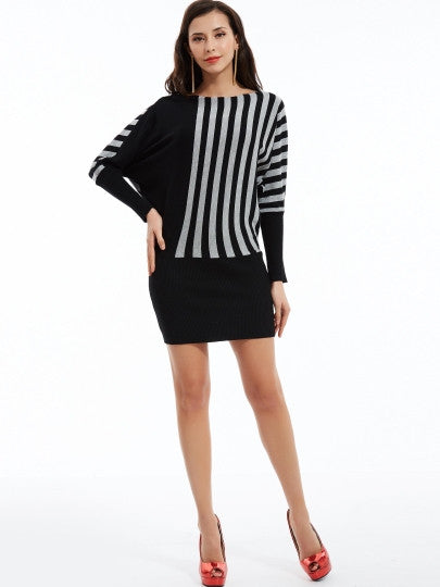 Color Block Stripe Bodycon Dress