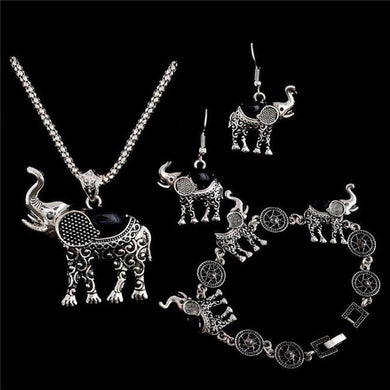 1Set Elephant Women Necklace Pendant Drop Earrings Bracelet Jewelry BK