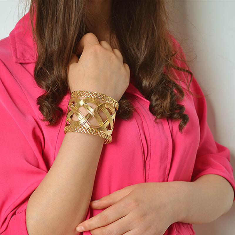 Ladies Charming Woven Hollow Out Bangle Bracelet Multilayer Jewelry GD