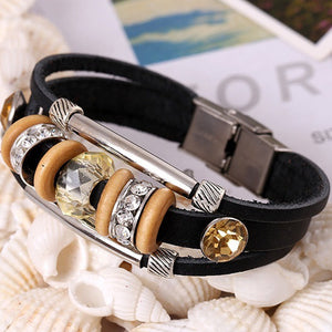 New Fashion Jewelry Rhinestone Crystal Handmade Metal Beaded Bracelets BK