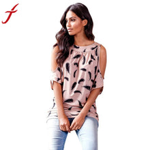 Batwing Sleeves Blouse Tops Women Feather Printed Polyester Casual Off Shoulder Blouse blusas mujer Shirt top Tee
