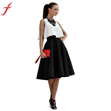 1PC  Sleeveless Top and 1PC Vintage Skirt Office Lady Women Stretch High Waist Skater Flared Pleated Swing Skirt Set#LSN