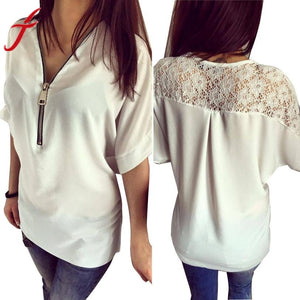 JECKSION Sexy Women Zipper Lace Blouse 2016 Fashion Floral Shirt Summer Chiffon Blouse Loose Top #LSIN