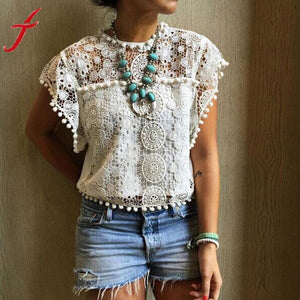 Women Summer Tops & Blouses Hollow Lace Vest Top Short Sleeve Blouse Casual White Tank Tops Shirt #LSW