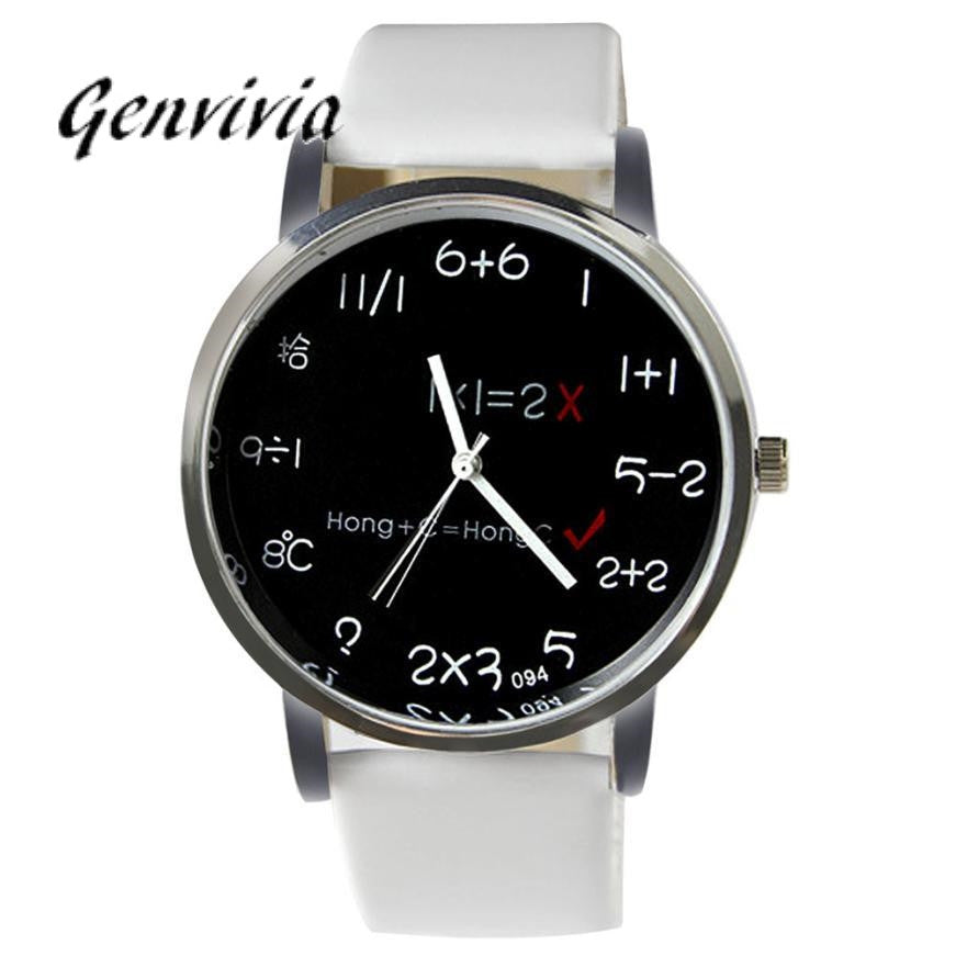 GENVIVIA women watches brand Numbers Imitation Leather Quartz Wrist Watch relojes mujer