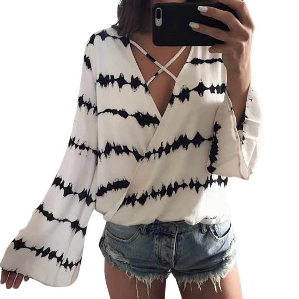 Women Loose Long Sleeve Printed Tops Chiffon Casual Blouse