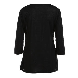 Women Long Sleeve Loose Button Trim Blouse solid color Round Neck Tunic T-Shirt