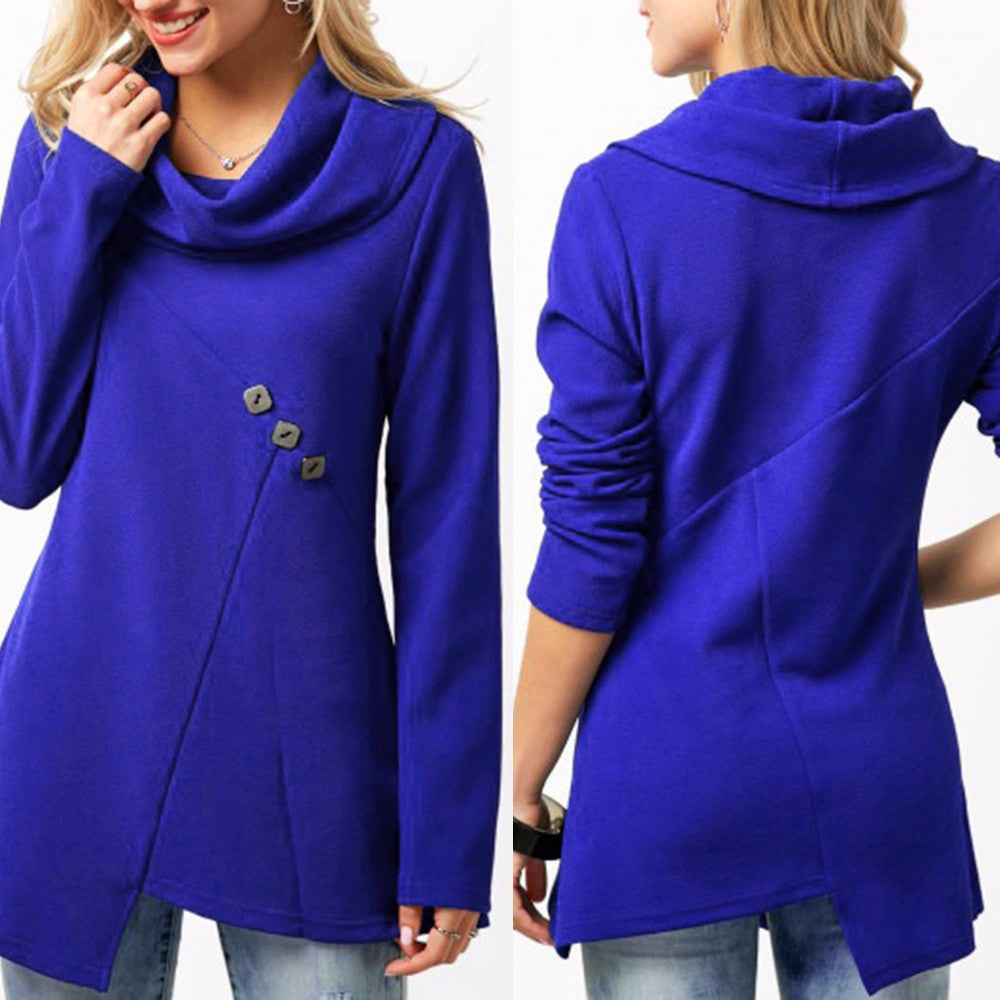Women Cowl Neck Button Embellished Royal Blue Blouse Shirt Top