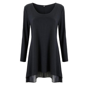 Women Long Sleeve Blouse Layered Scoop Neck Tunic Loose Fit Dress