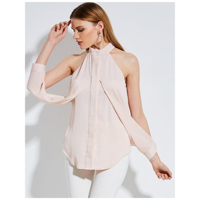 Asymmetrical Neck Polyester Pink Voguish Day Top