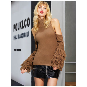 Polyester Brown Layered Sleeve Vocation Knitted Top