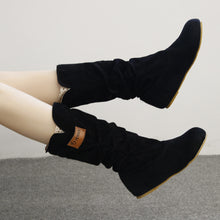 Woman knee High Boots Flat Heel Nubuck Motorcycle Boot Autumn Winter Shoes
