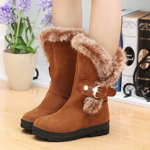 Women Boots Slip-On Soft Snow Boots Round Toe Flat Winter Fur Ankle Boots
