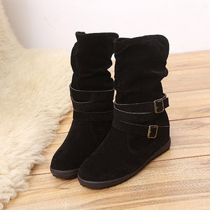 Ladies Womens Low Wedge Buckle Biker Ankle Trim Flat Ankle Boots Shoes