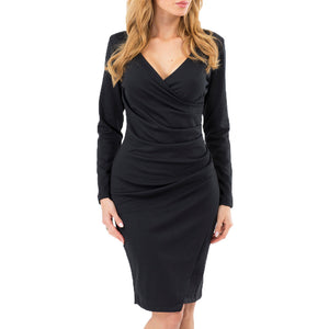 Women's Sexy Solid Wiggle Dress V-Neck Wrap Dress Long Sleeve Pencil Tunic Dress