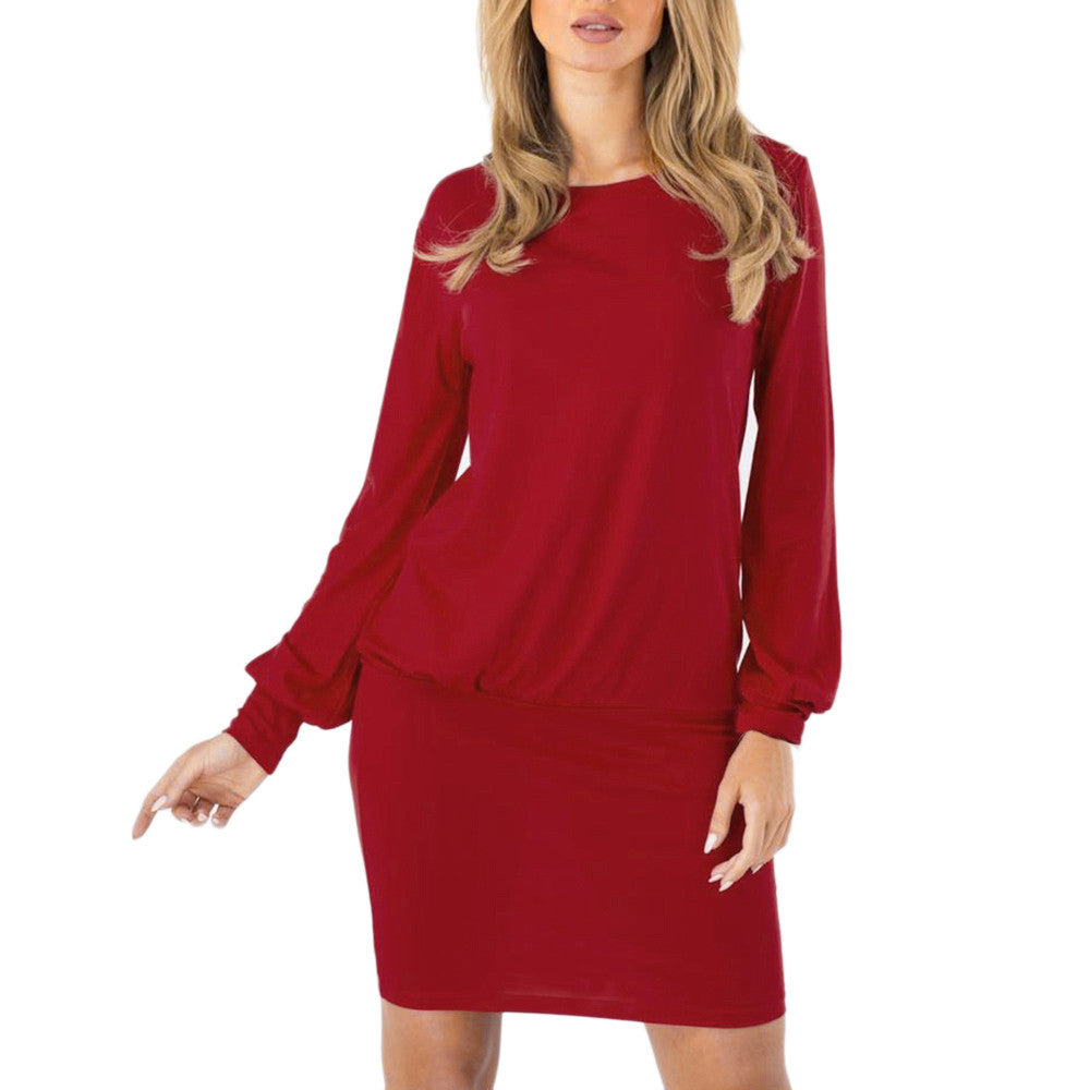 Women's Sexy Solid Wiggle Dress O-Neck Wrap Dress Long Sleeve Mini Dress