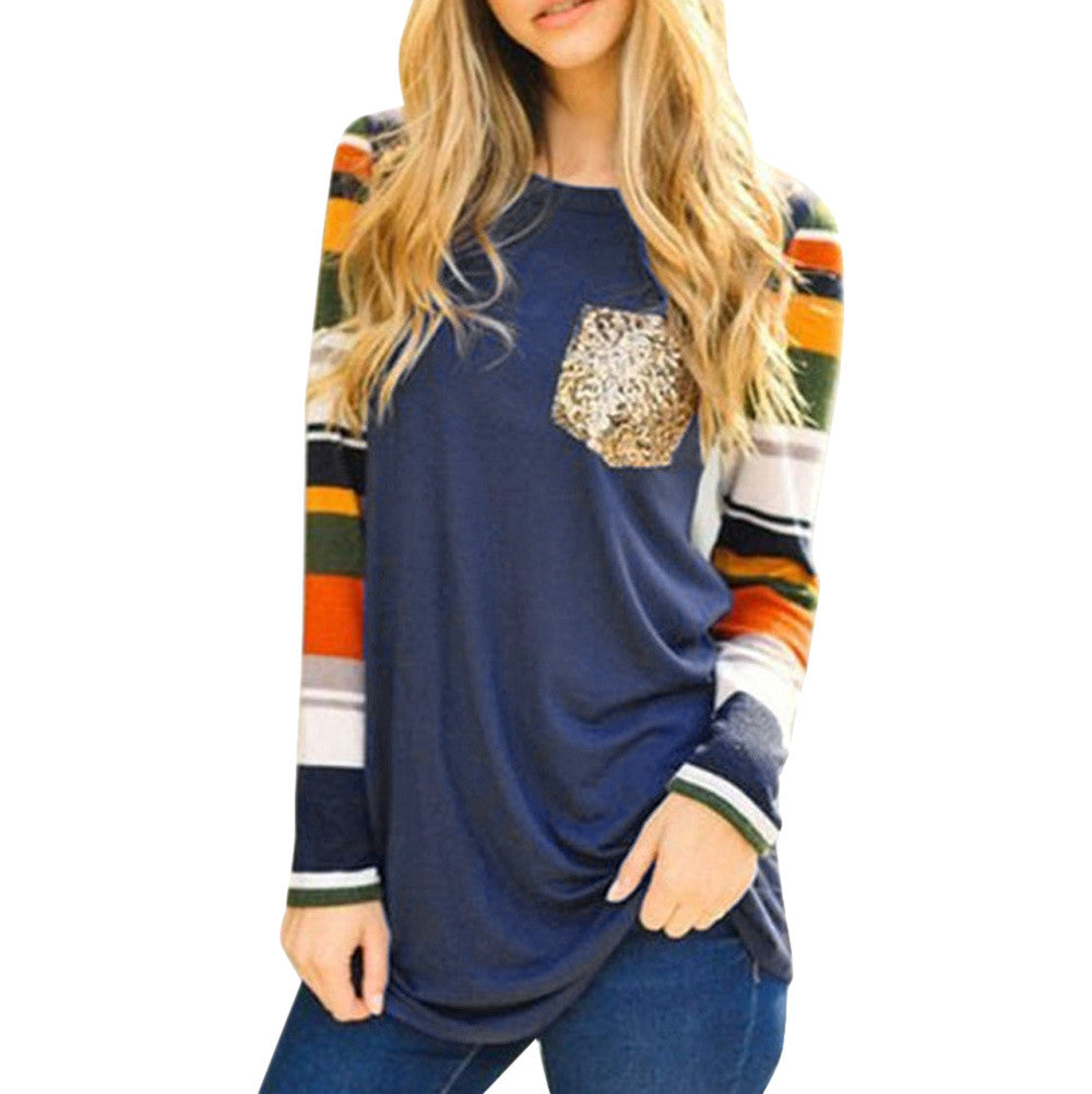 Womens Ladies Sequins Pocket Patchwork Blouses T-shirt Long Sleeve Tops
