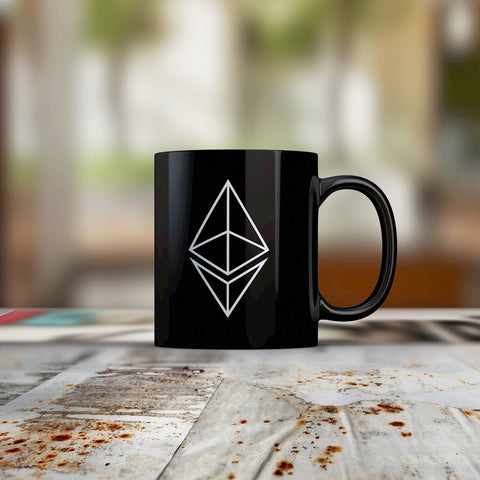 ETHEREUM HOLLOW LOGO · BLACK COFFEE MUG - FUD Clothing Cryptocurrency Apparel