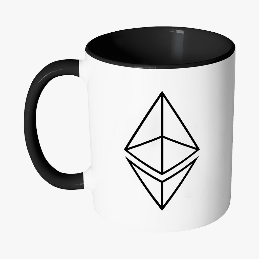 ETHEREUM HOLLOW LOGO WHITE COFFEE MUG - FUD Clothing Cryptocurrency Apparel