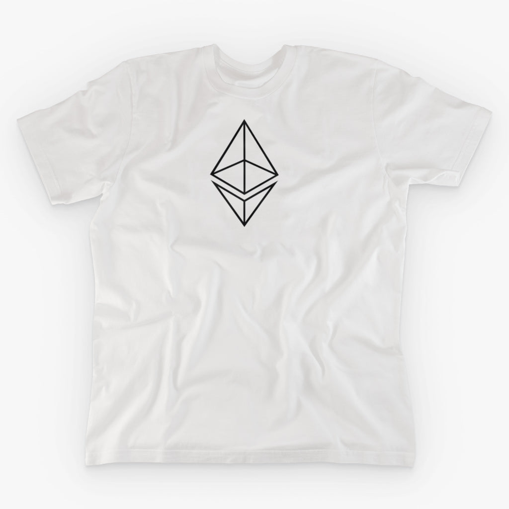 ETHEREUM HOLLOW LOGO · WHITE T-SHIRT - FUD Clothing Cryptocurrency Apparel