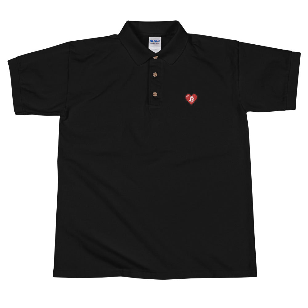 Bitcoin Pixel Heart Embroidered Polo Shirt - FUD Clothing Cryptocurrency Apparel