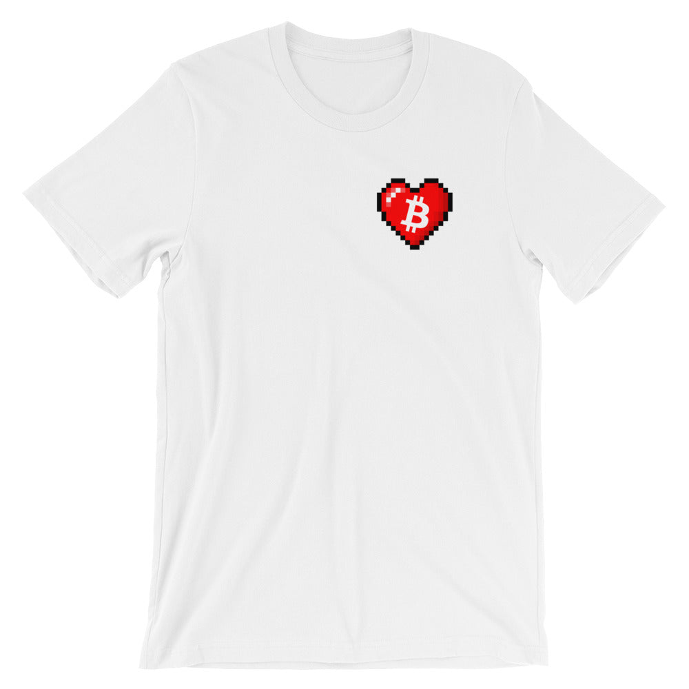 Bitcoin Pixel Heart T-Shirt - FUD Clothing Cryptocurrency Apparel