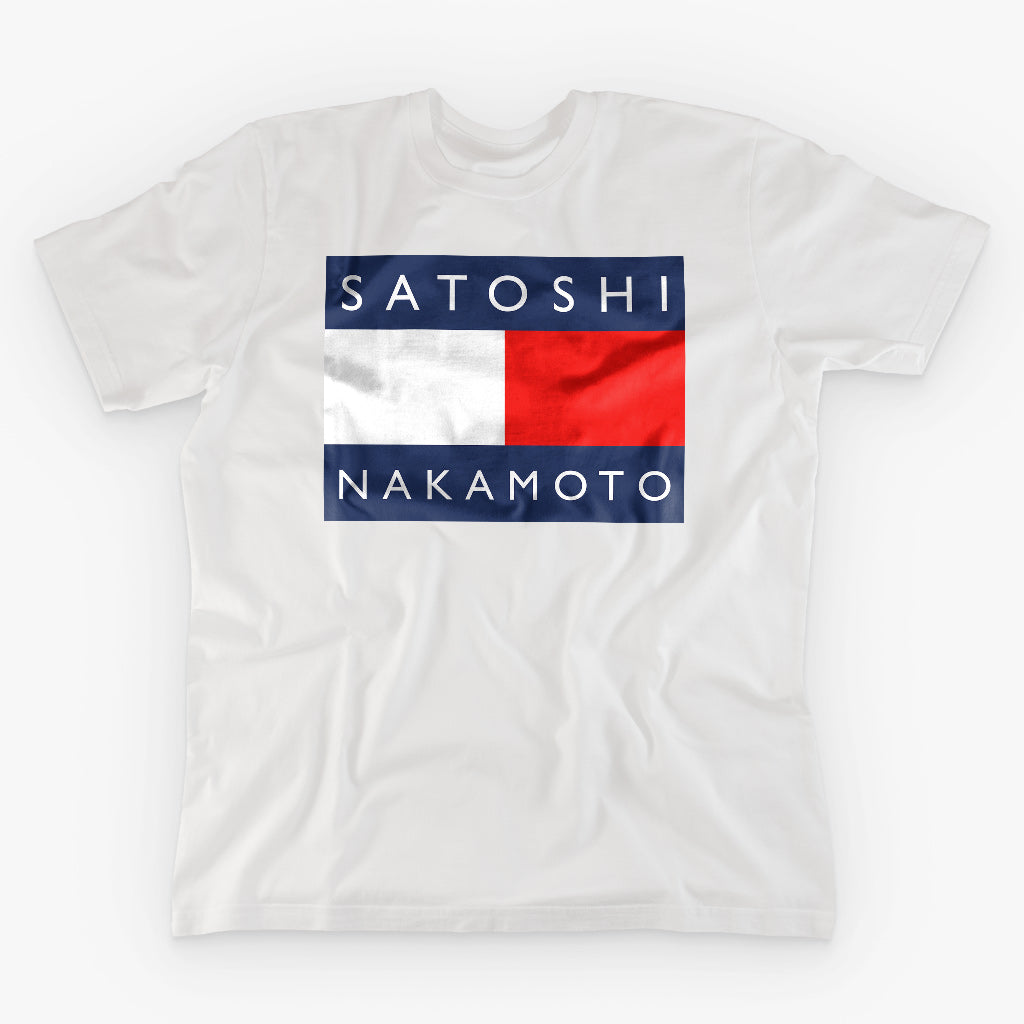 SATOSHI HILFIGER NAKAMOTO T-SHIRT - FUD Clothing Cryptocurrency Apparel