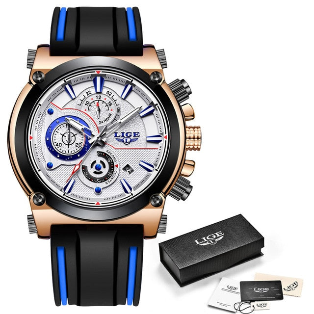 LIGE Brand Luxury Chronograph Rubber Quartz Clock #071