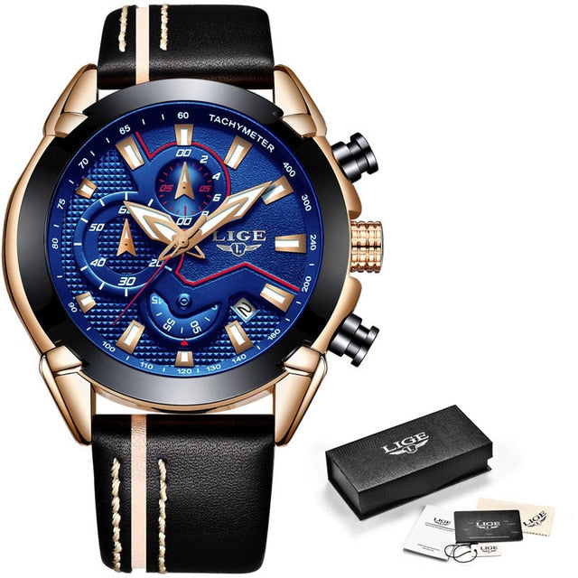 LIGE Brand Luxury Chronograph Leather Quartz Clock
