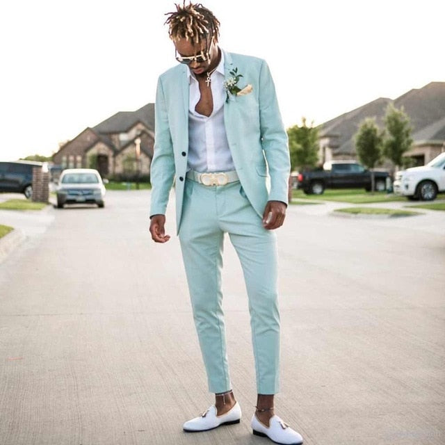 Mint Green Slim Fit Beach Tux 2PC