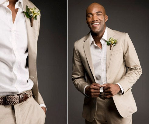 Casual Khaki Groomsmen 2 Pieces