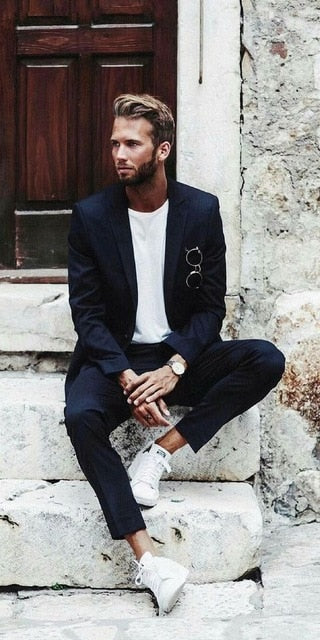 Navy Blue Casual Summer Suit
